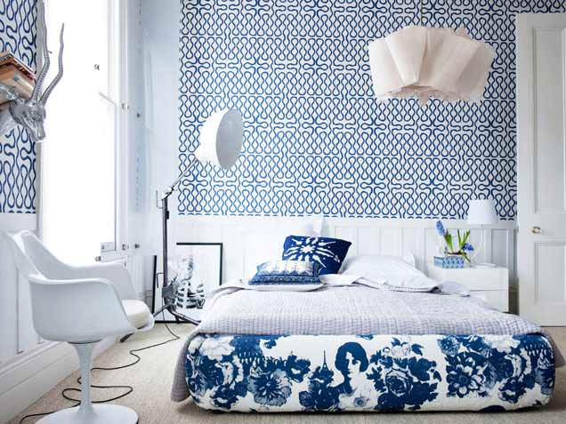 Camere Da Letto Blu : Elegante camera da letto padronale con camera da letto blu e porta
