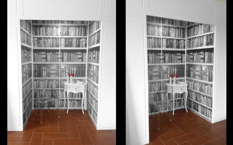 Libri sulle pareti vogliacasa for Carta parati libri