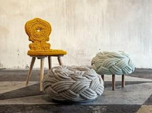 Mobili rivestiti in lana