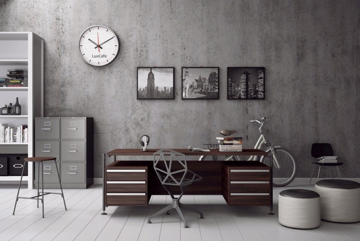 Grey color scheme and old style masculine home office
