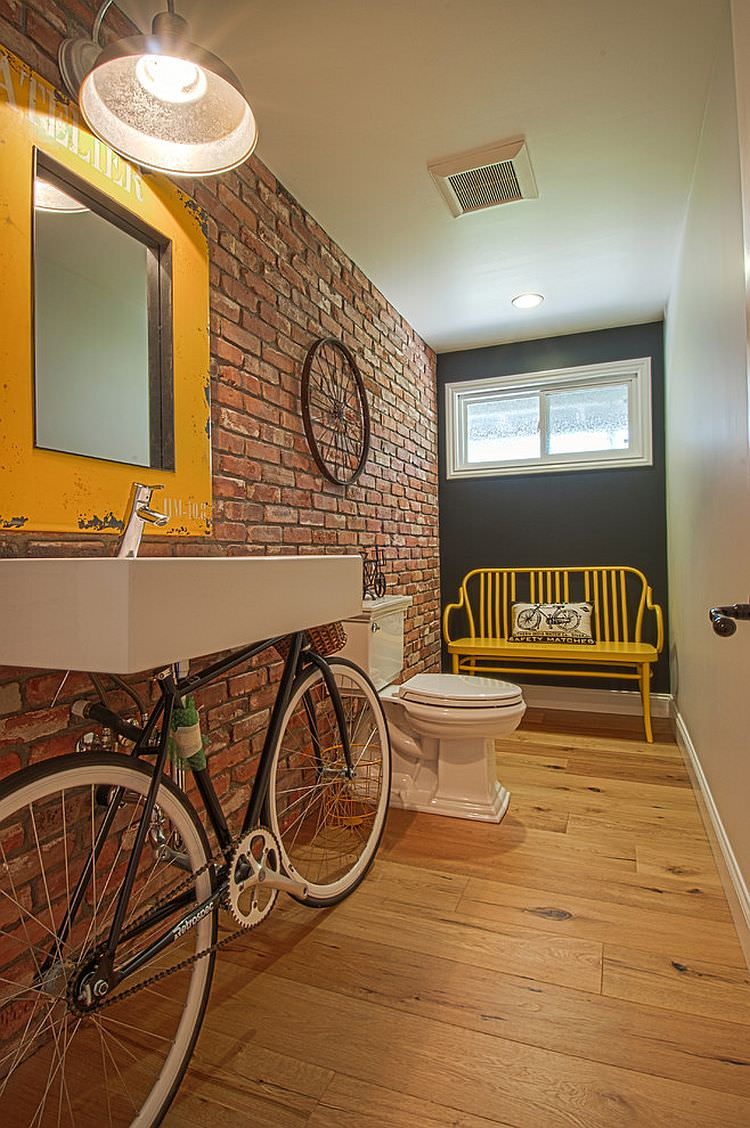 Industrial-powder-room-with-an-old-bicycle-turned-into-a-cool-vanity